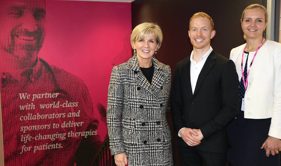 Left to right- The Hon Julie Bishop MP, Michael Winlo (CEO of Linear), Zelda Herbst (Project Manager of Oncology & Haematology)